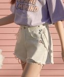 로라로라(ROLAROLA) (PT-19344) DAMAGE DENIM SHORTS WHITE