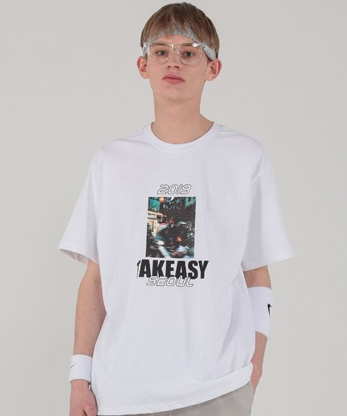 테이크이지(TAKEASY) CITY PRINT TEE (WHITE)