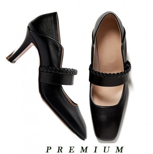 피에스메리제인(PSMARYJANE) Ribbon Tie Pumps (Black)