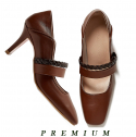 피에스메리제인(PSMARYJANE) Ribbon Tie Pumps (Brown)
