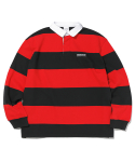 디스이즈네버댓(THISISNEVERTHAT) Striped Rugby Shirt Black/Red
