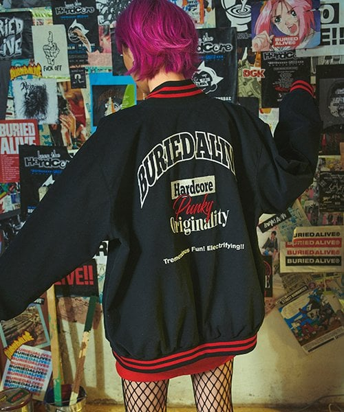 베리드얼라이브(BURIED ALIVE) BA STADIUM JACKET BLACK