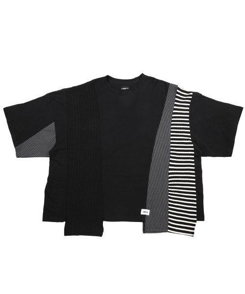 아조바이아조 오리지널 라벨(AJOBYAJO ORIGINAL LABEL) Oversized Mixed T-Shirt [Black]
