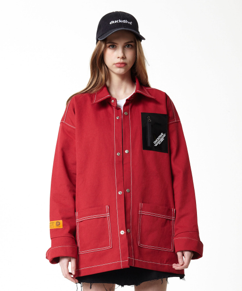 덕다이브(DUCKDIVE) EP WORK SHIRT JAKET RED