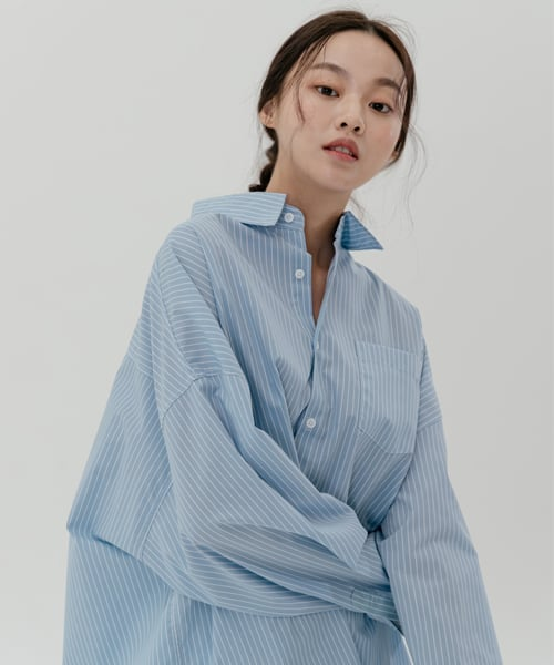 레이디 볼륨(LADY VOLUME) Overfit unbalance shirt_sky blue