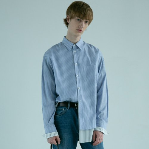 던스트(DUNST) DOUBLE LAYER STRIPED SHIRT (BLUE) UDSH9E301B2