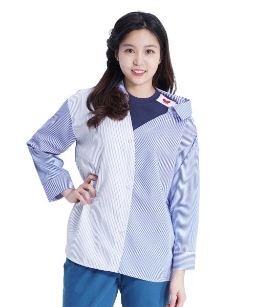 메리먼트(MERRIMENT) Lovely M Stripe Shirt (BLUE)