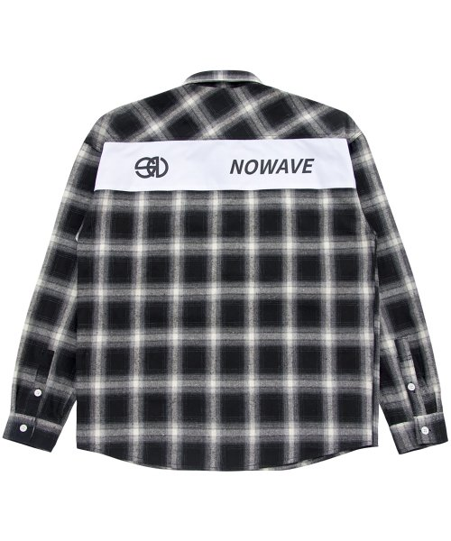 노웨이브(NOWAVE) PATCH CHECK SHIRT - Black