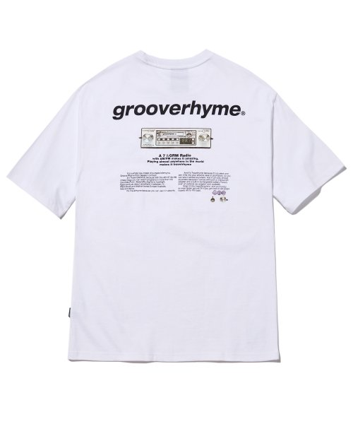그루브라임(GROOVE RHYME) RADIO PRINT OVER FIT T-SHIRTS (WHITE) [GTS010H23WO]