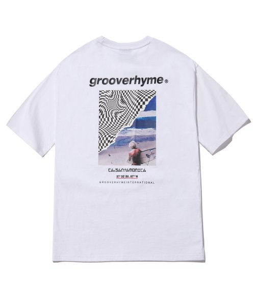 그루브라임(GROOVE RHYME) SURFING MAN PRINT OVER FIT T-SHIRTS (WHITE) [GTS014H23WH]