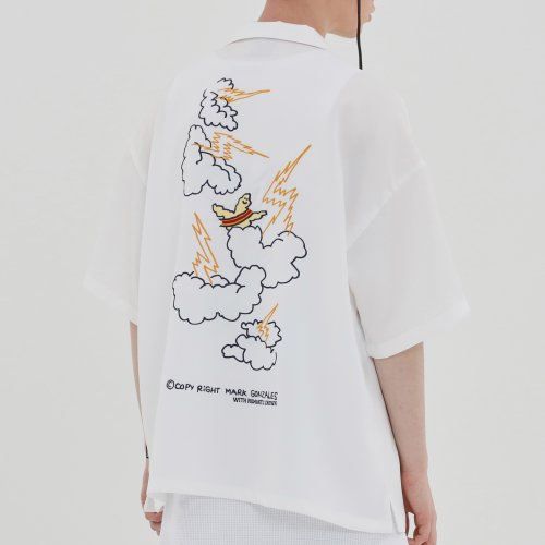 로맨틱크라운(ROMANTIC CROWN) [R.C X M.G]Thunder Angel Souvenir Shirts_White