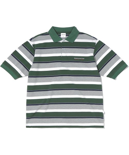 디스이즈네버댓(THISISNEVERTHAT) DSN Striped Jersey Polo Olive/Grey
