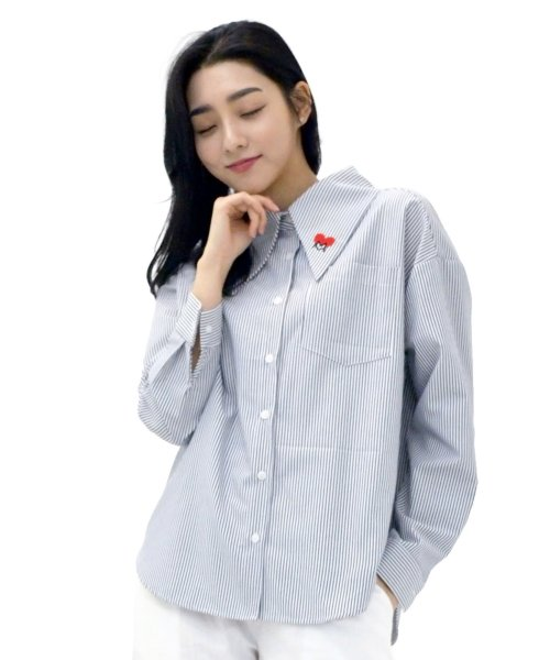 메리먼트(MERRIMENT) Lovely M Stripe Long-collar Shirt (NAVY)