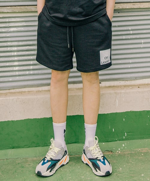 라모드치프(LAMODECHIEF) LAMC OFF LICENCE BANDING SHORT PANTS (BLACK)