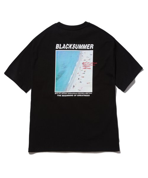 그루브라임(GROOVE RHYME) BEACH PRINT OVER FIT T-SHIRTS (BLACK) [GTS005H23BK]