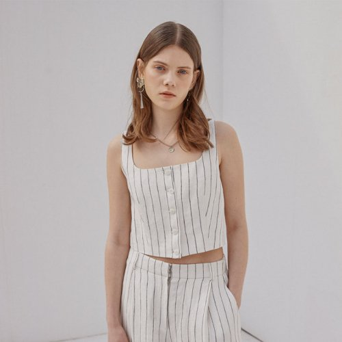 우아솜메(OUAHSOMMET) STRIPE LINEN CROP TOP_IVORY