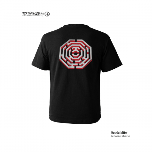 모노파틴(MONOPATIN) night light maze octagon scotchlite  t shirt – black