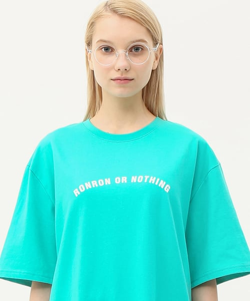 론론(RONRON) Round lettering over fit T-shirts mint