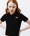 론론(RONRON) Mini circle logo crop T-shirt black