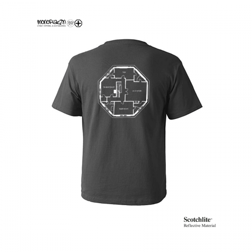 모노파틴(MONOPATIN) night light floor plan scotchlite  t shirt – charcoal