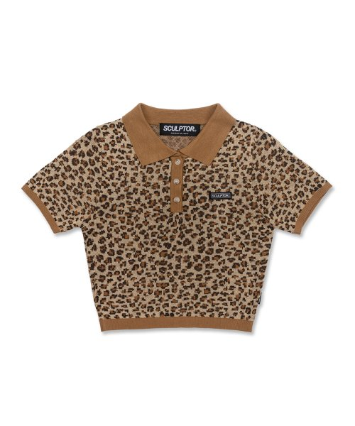 Polo Knit top [LEOPARD/BROWN]