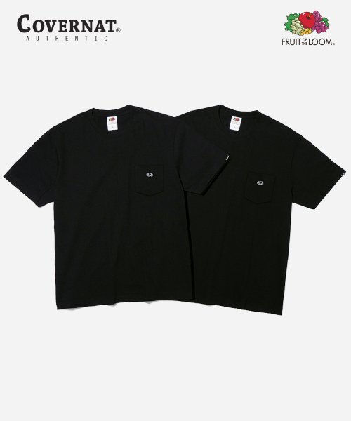 커버낫(COVERNAT) [COVERNAT  X FTL]  2PACK 210g POCKET TEE BLACK