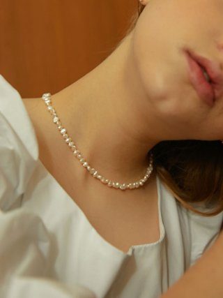 카인더베이비(KINDABABY) middle pearls necklace [silver 925]