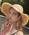 로라로라(ROLAROLA) (CH-19312) LACE CHECK RIBBON STRAW HAT RED