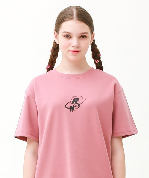 론론(RONRON) Check track regular fit T-shirts indi pink