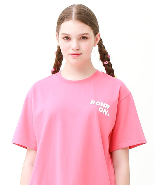 론론(RONRON) Outline regular fit T-shirts cherry pink
