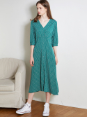 룩캐스트() GREEN V NECK PRINTING LONG DRESS