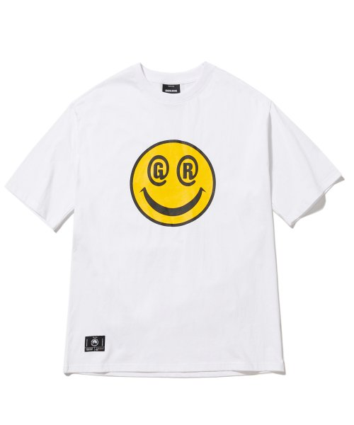 그루브라임(GROOVE RHYME) BIG SMILE LOGO OVER FIT T-SHIRTS (WHITE) [GTS051H23WH]