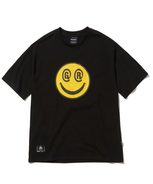 그루브라임(GROOVE RHYME) BIG SMILE LOGO OVER FIT T-SHIRTS (BLACK) [GTS051H23BK]