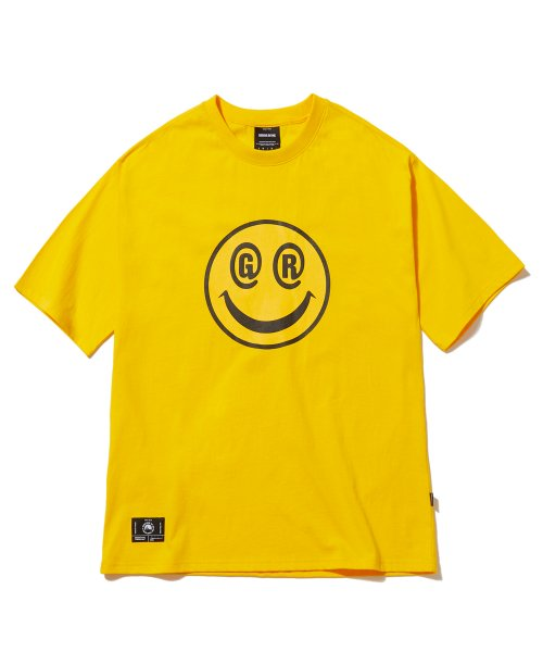 그루브라임(GROOVE RHYME) BIG SMILE LOGO OVER FIT T-SHIRTS (YELLOW) [GTS051H23YE]