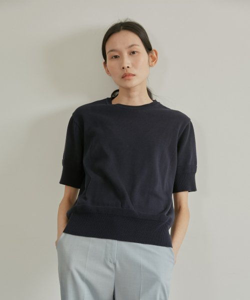 38컴온커먼(38COMEONCOMMON) 19SR LIGHT COTTON SLIT KNIT (NAVY)