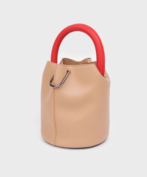 세이모 온도(SAMO ONDOH) 한나백 11° Hannah bag - BEIGE WITH RED HANDLE