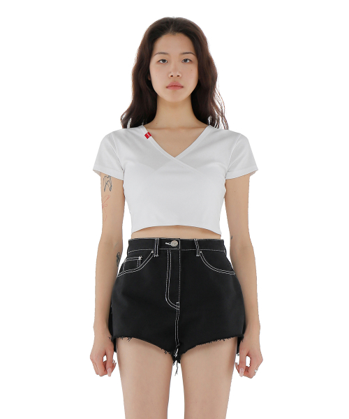 큐리티(CURETTY) C WRAP CROP T SHIRT WHITE