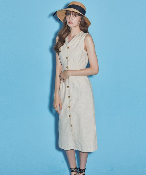 마나비스세븐(MANAVIS7) LINEN SLEEVELESS ONE-PIECE_IVORY