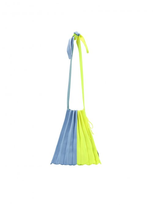 조셉앤스테이시(JOSEPH&STACEY) Lucky Pleats Knit M Half & Half Sky Blue/Neon Yellow