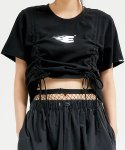 이에스씨 스튜디오(ESC STUDIO) Shirring crop T-shirt (black)
