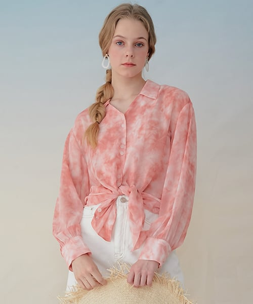 몬츠(MONTS) 931 see-through printing blouse (pink)