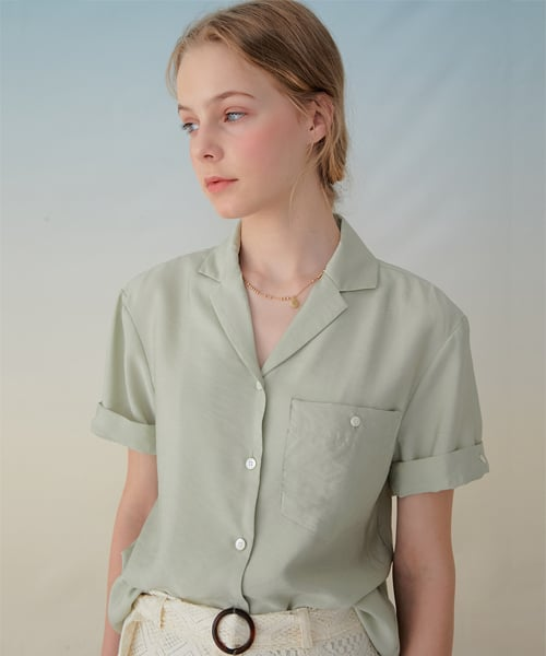 몬츠(MONTS) 935 open collar shirts (olive)