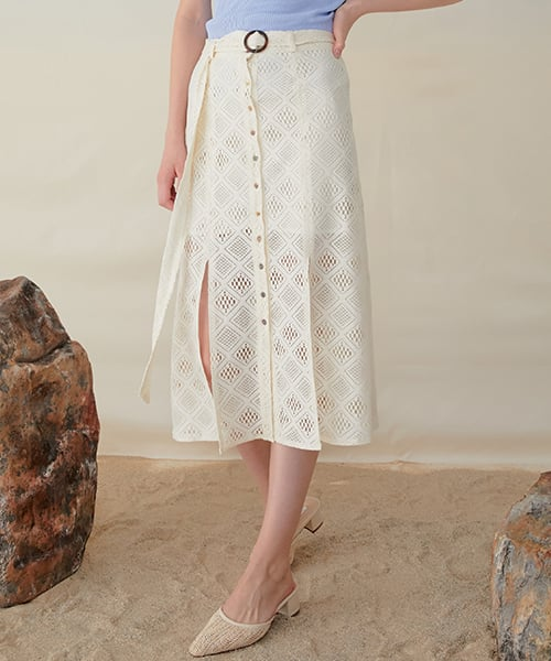 몬츠(MONTS) 952 lace belt long skirt (ivory)