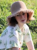 슬리피슬립(SLEEPYSLIP) [unisex]LINEN FABRIC BROWN BUCKET HAT