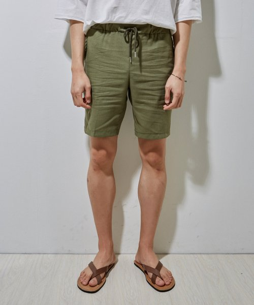 에이본(THE-ABON) Madrid linen 5half pants (khaki)