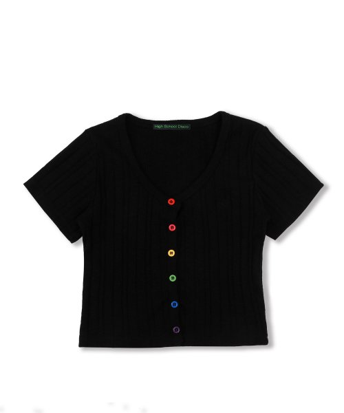 하이스쿨디스코(HIGH SCHOOL DISCO) Rainbow Crop Cardigan_black