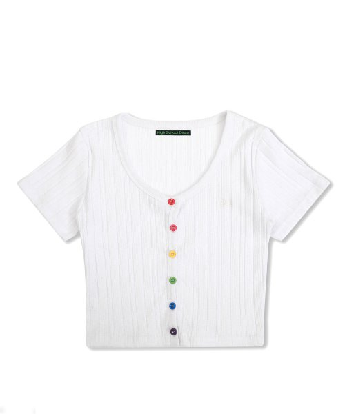 하이스쿨디스코(HIGH SCHOOL DISCO) Rainbow Crop Cardigan_white