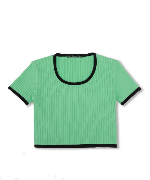 하이스쿨디스코(HIGH SCHOOL DISCO) Taping Crop T-shirt_emerald