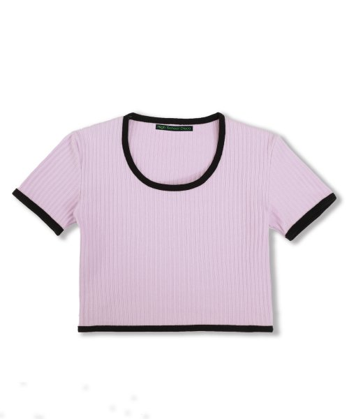 하이스쿨디스코(HIGH SCHOOL DISCO) Taping Crop T-shirt_light purple