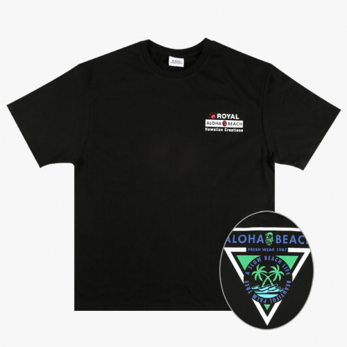 로얄하와이안크리에이션스(ROYALHAWAIIANCREATIONS) ROYAL ALOHA BEACH PRINT TEE BLACK